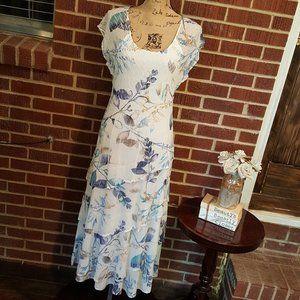 Komarov Floral Tiered Charmeuse Midi Dress Large
